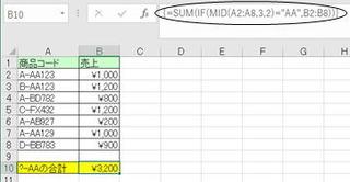 """3,4桁目が""""AA""""のデータだけを合計する"""